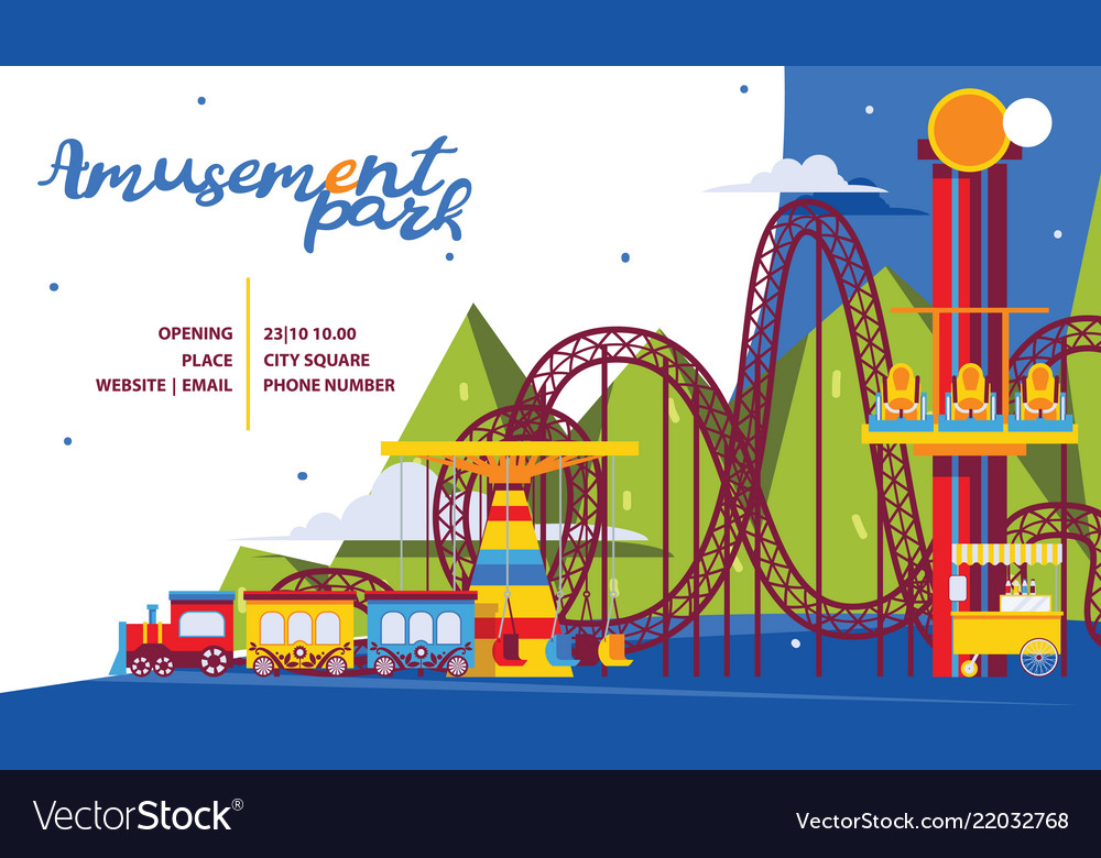 Amusement park poster template flat attractions