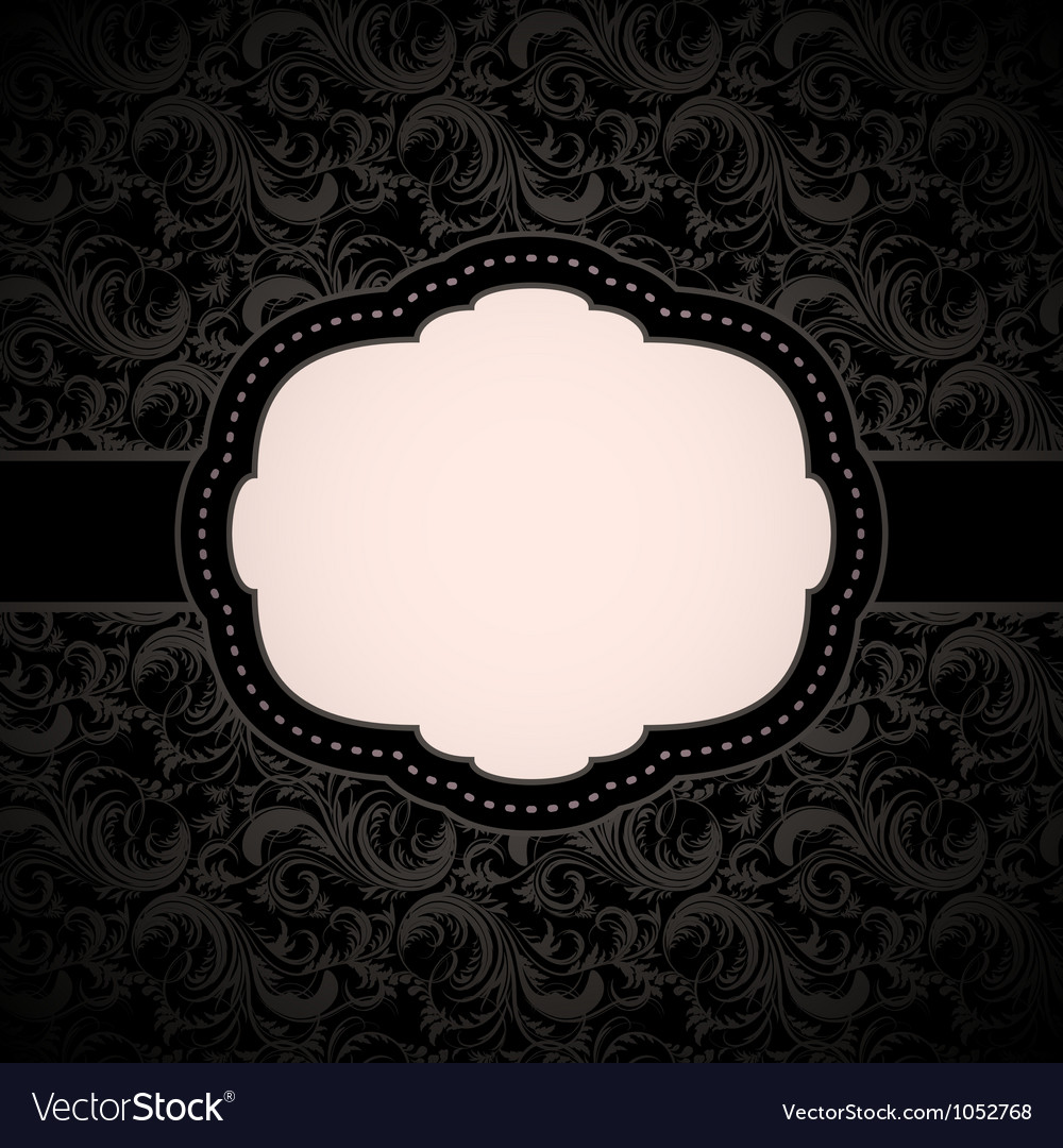 Black seamless floral pattern with vintage frame vector