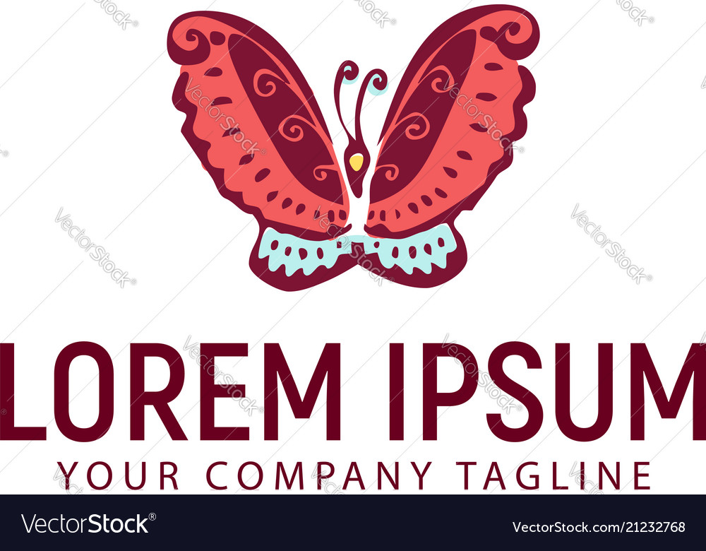 Butterfly hand drawn logo design concept template