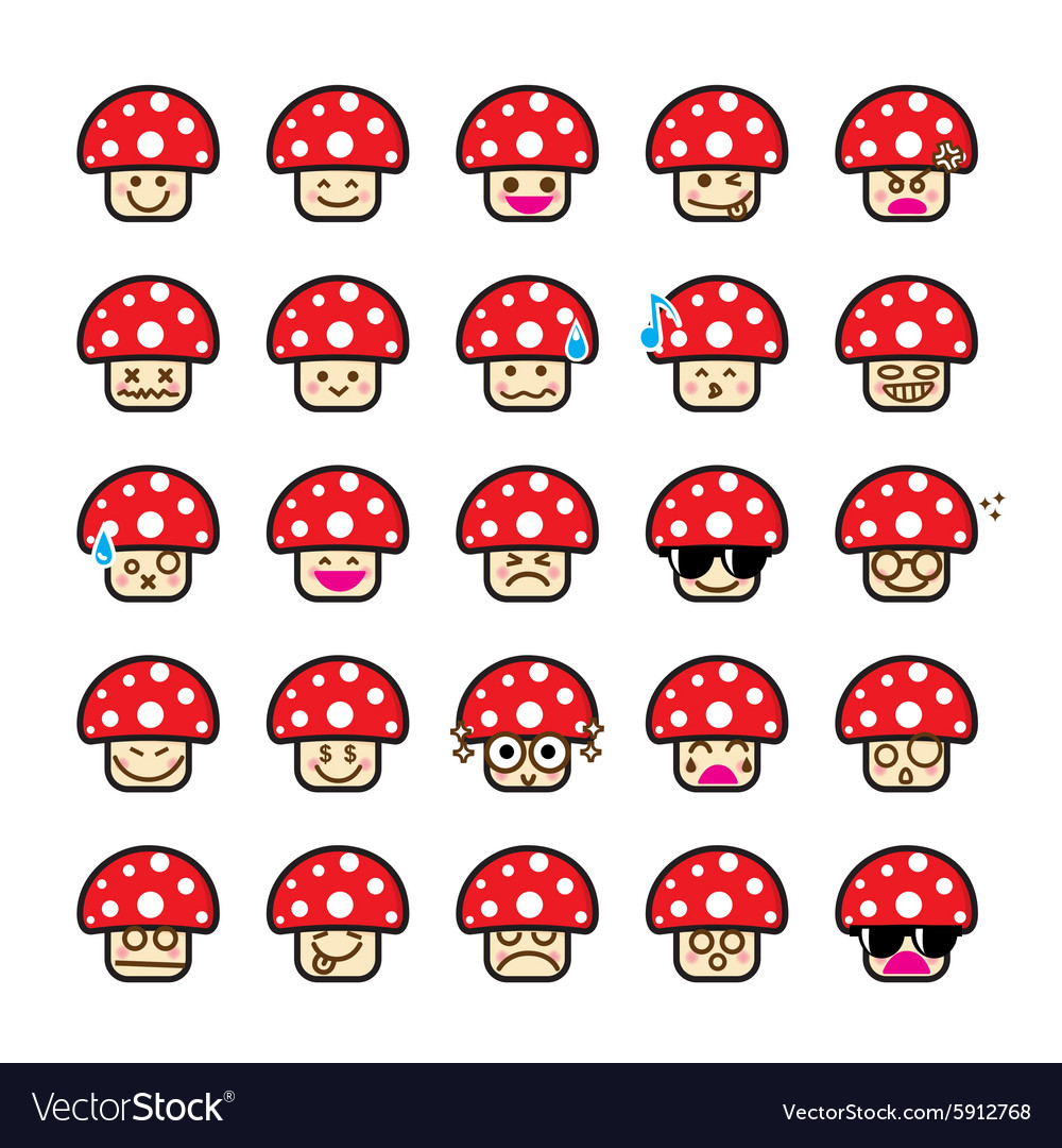 Collection of difference emoticon icon of mushroom
