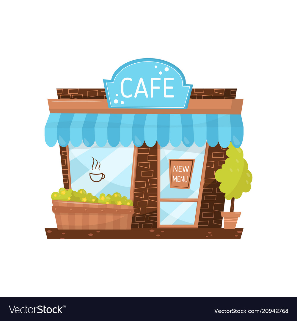 Cute facade of small cafe city building with