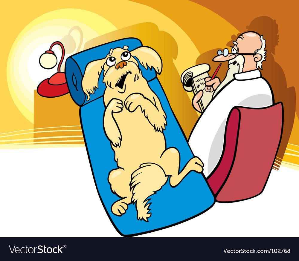 Dog at psychiatrist vector image