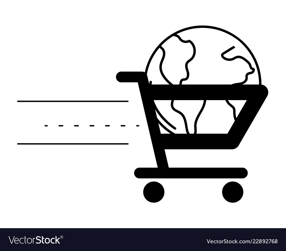 Ecommerce online shopping cartoon
