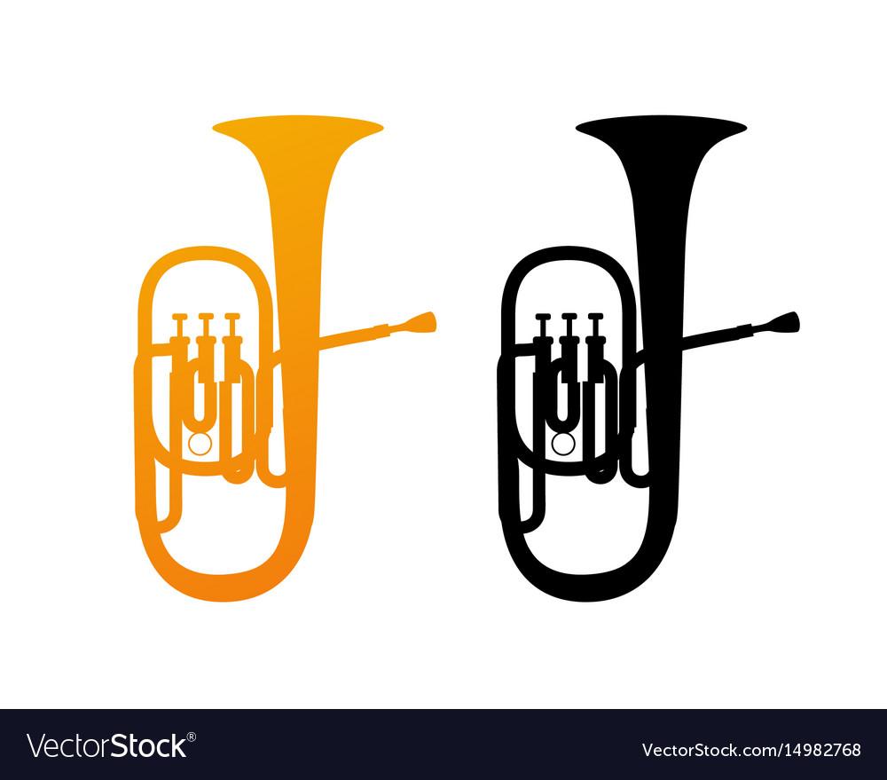 Golden icon of tuba vector image