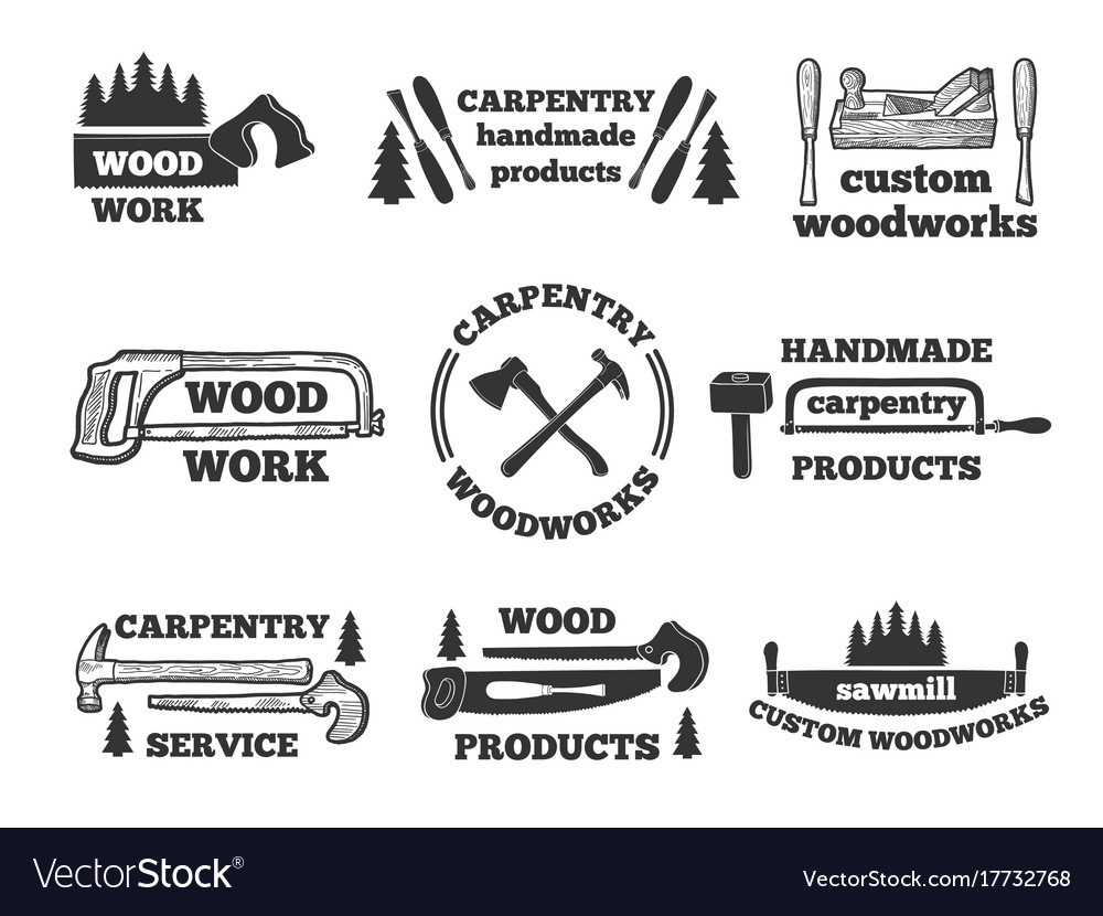 Labels for woodworking shop monochrome vector image