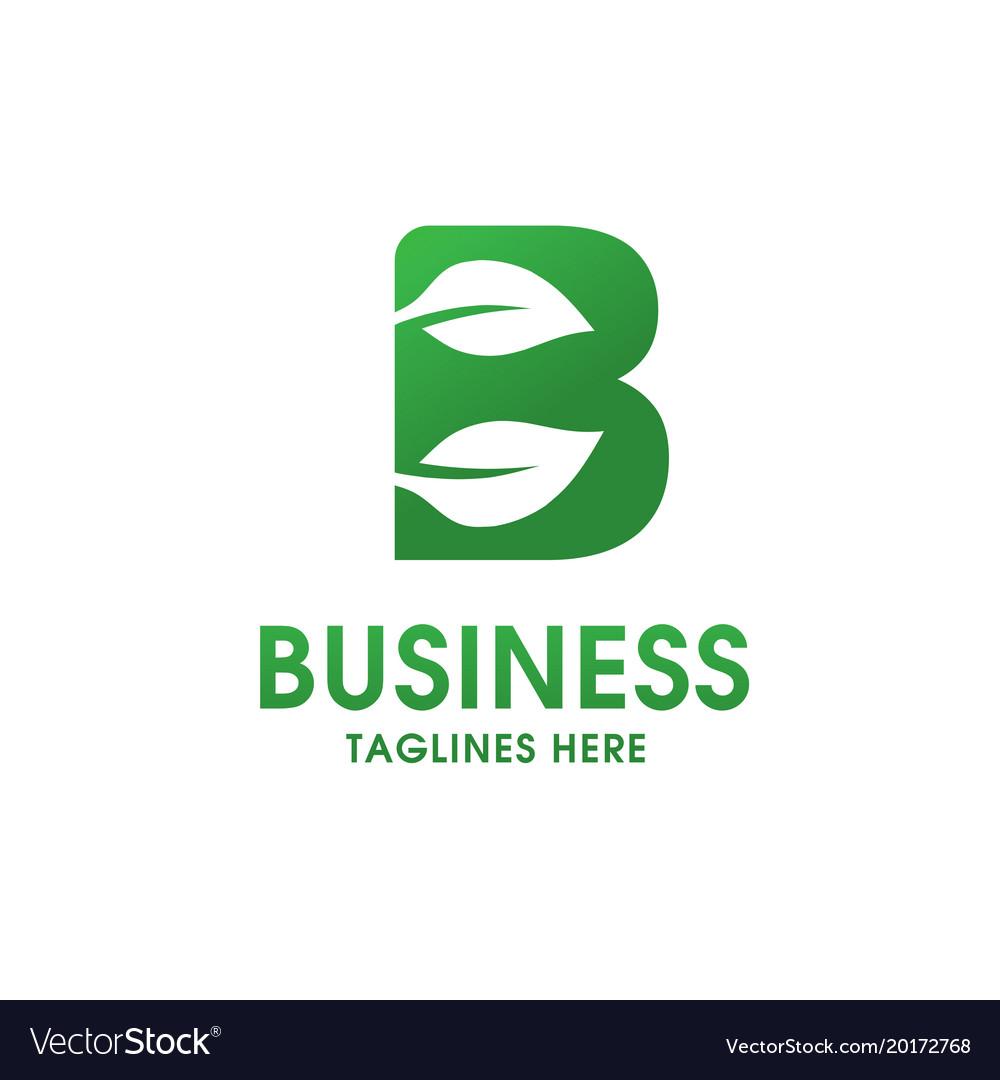 Letter b with leaf logo vector image