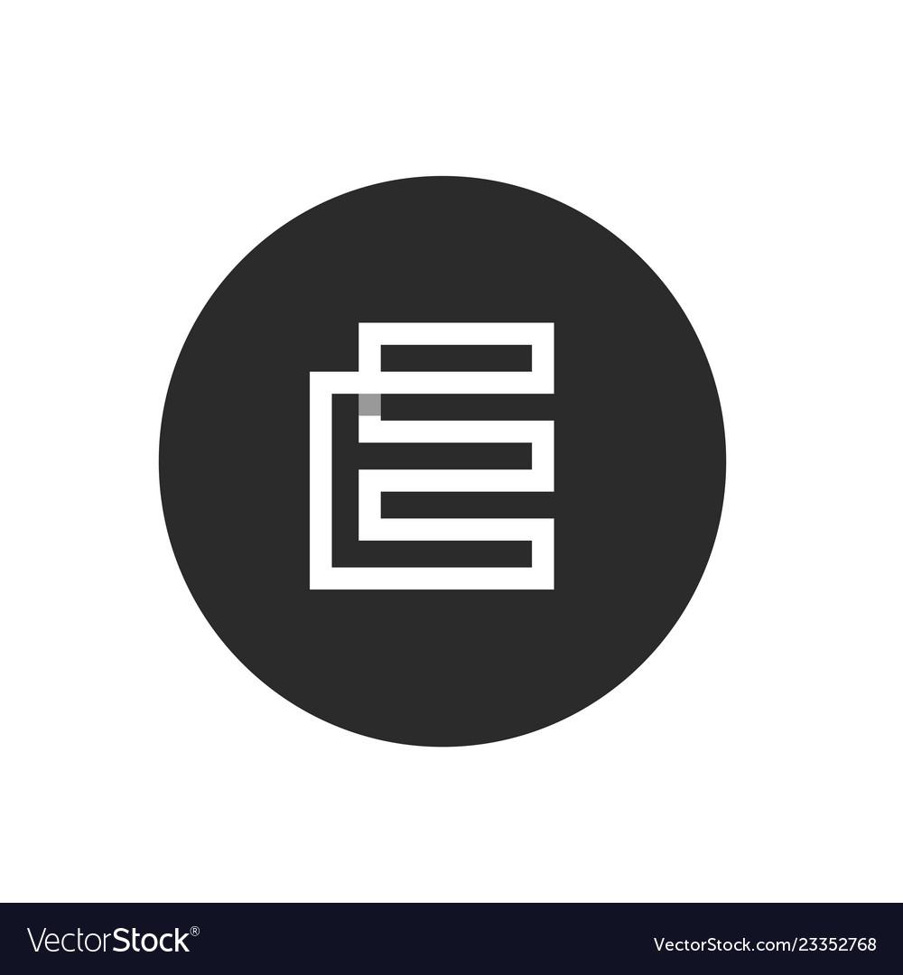 Modern letter e icon black circle icon design