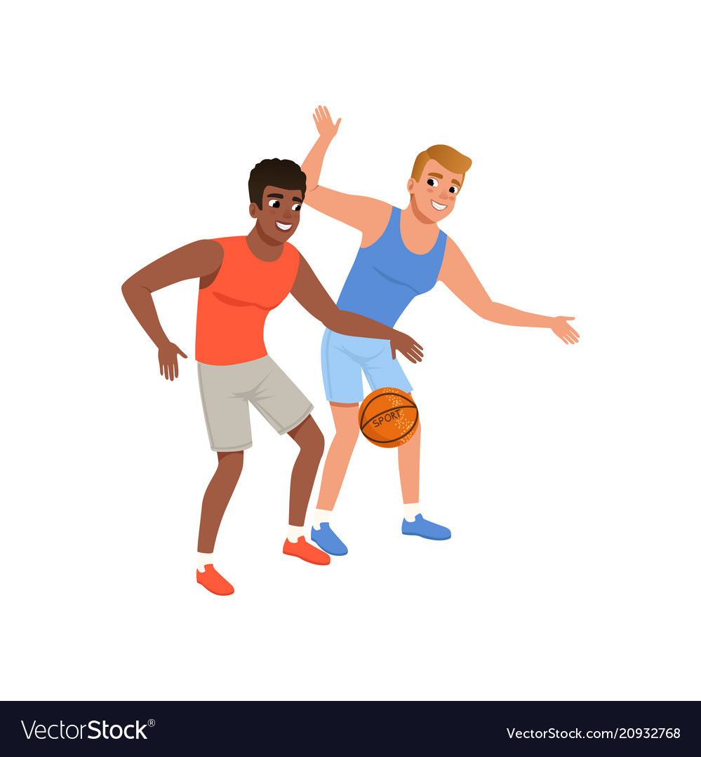 Two guy playing in basketball active lifestyle