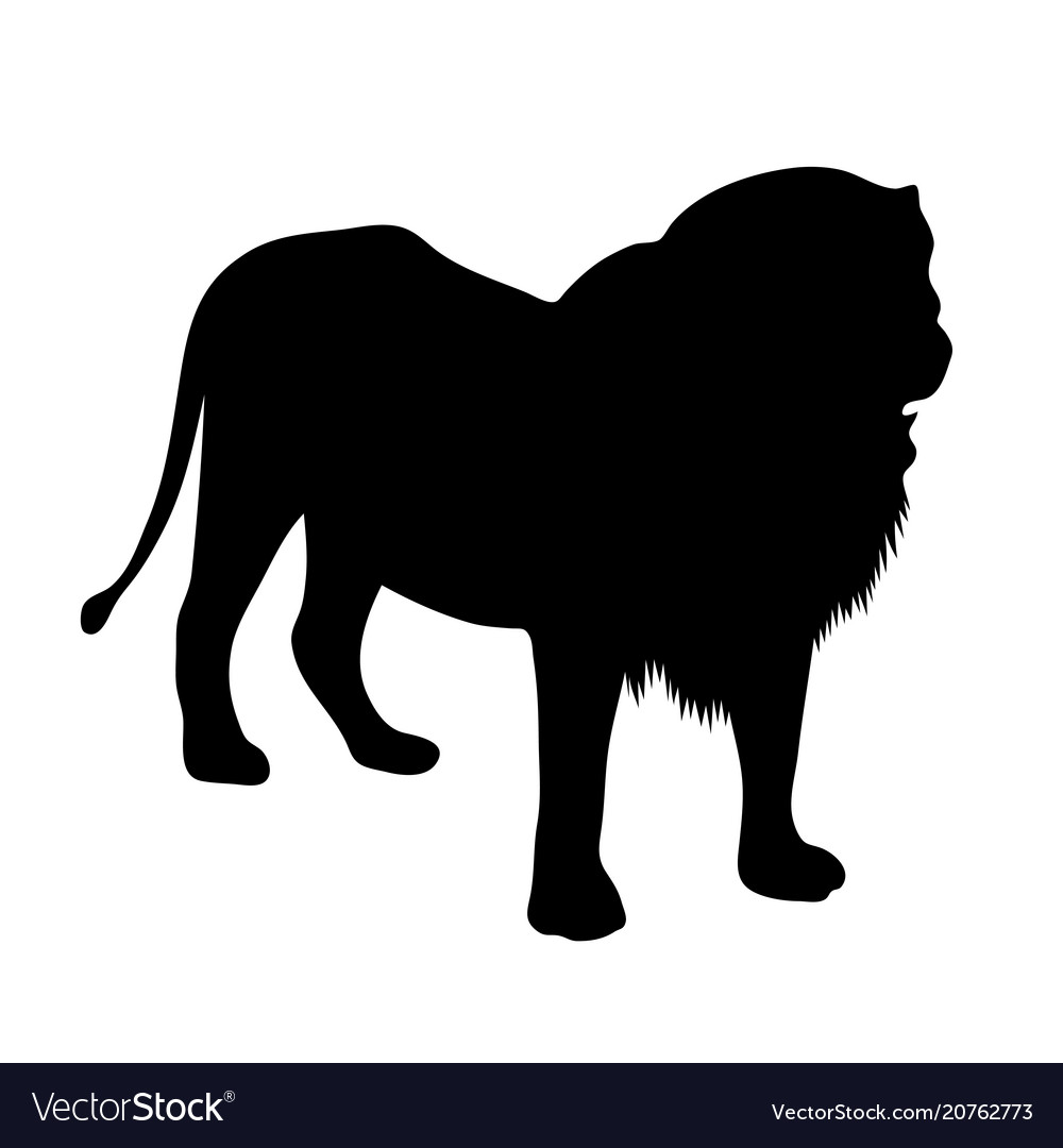 Black silhouette of standing lion on white