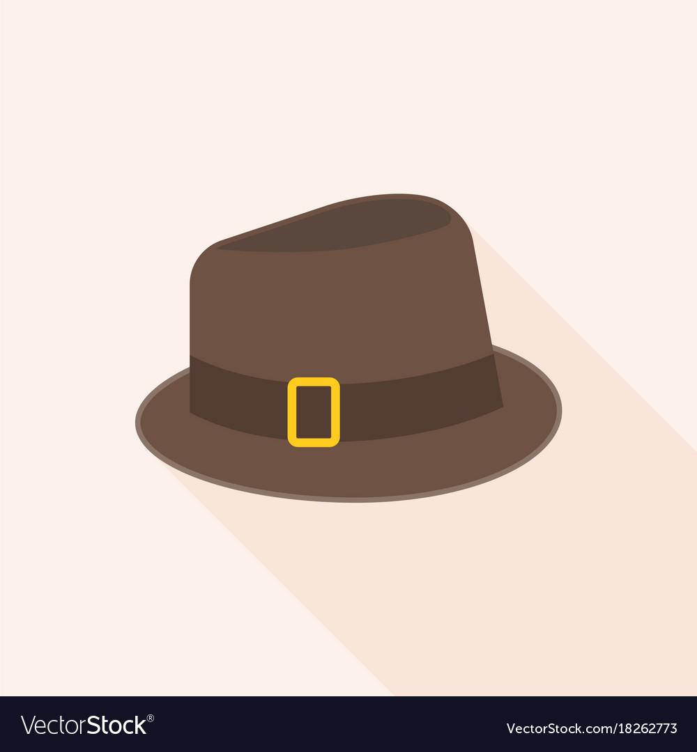 Brown wool fedora hat