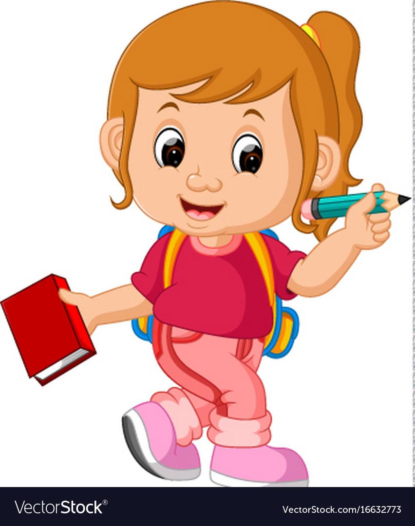 Cute Girl Go To School Royalty Free Vector Image-4115