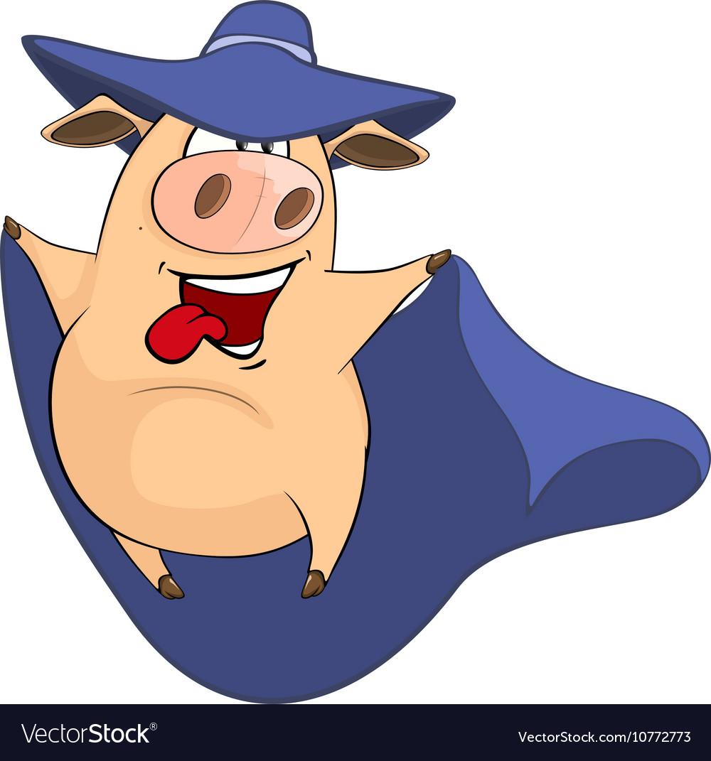 Cute Pig in Superhero Costume