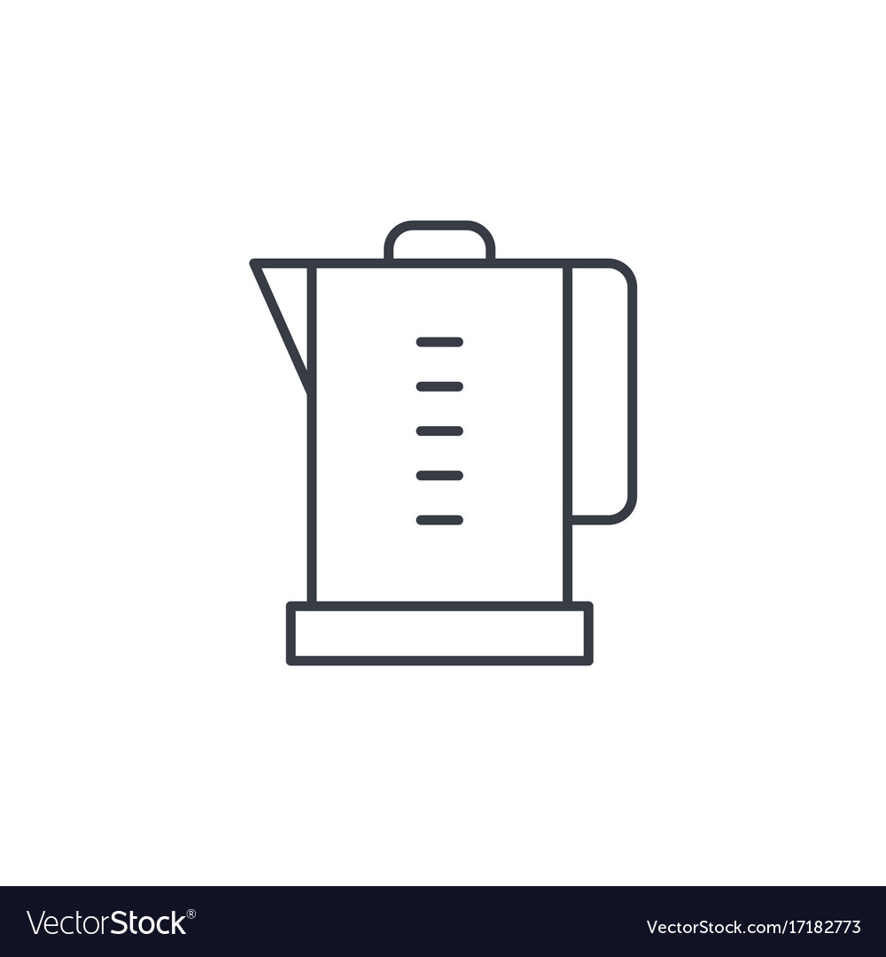 Electric kettle thin line icon linear