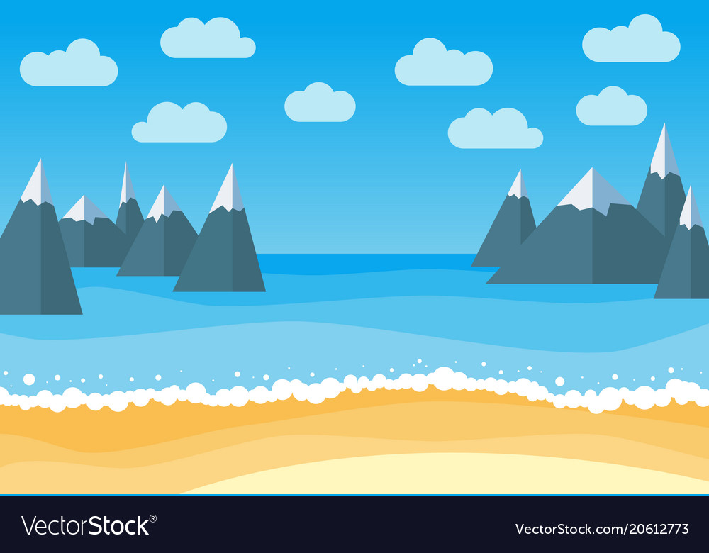 Landscape with summer beach and rocks
