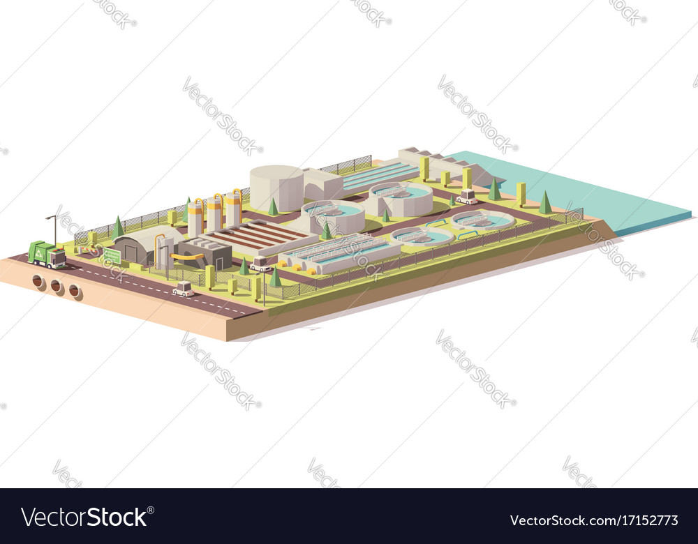 Low poly wastewater treatment plant