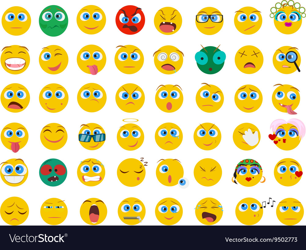 Mega big collection set of flat Emoji face emotion vector image