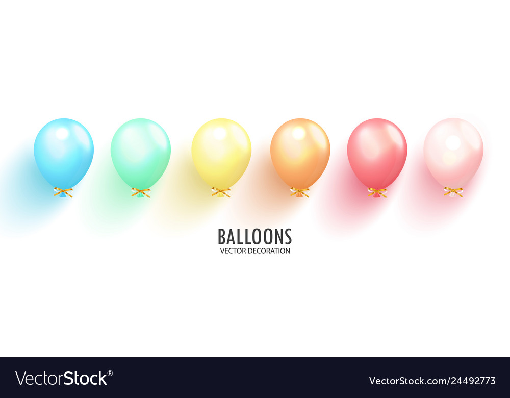 Realistic glossy balloons on transparent