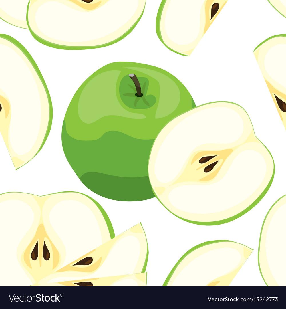 Seamless green apple pattern tile vegetarian