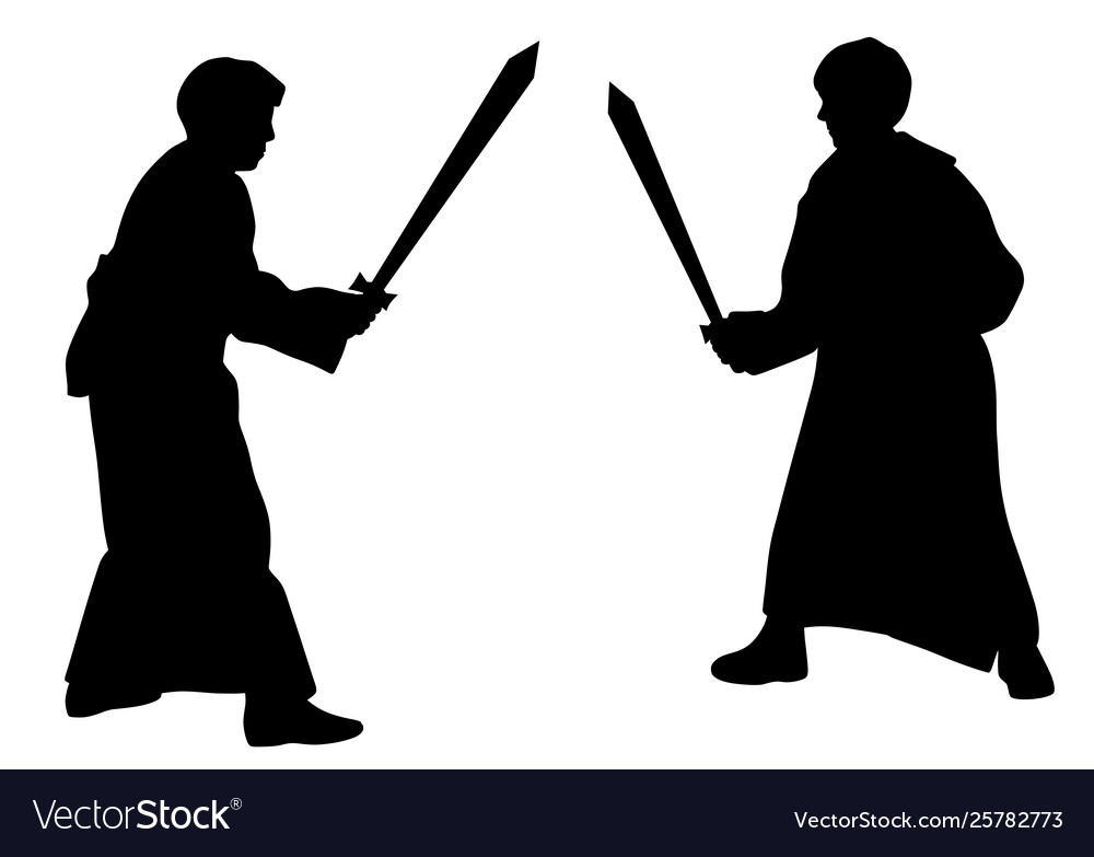 Two kids sword fighting duel in medieval costumes