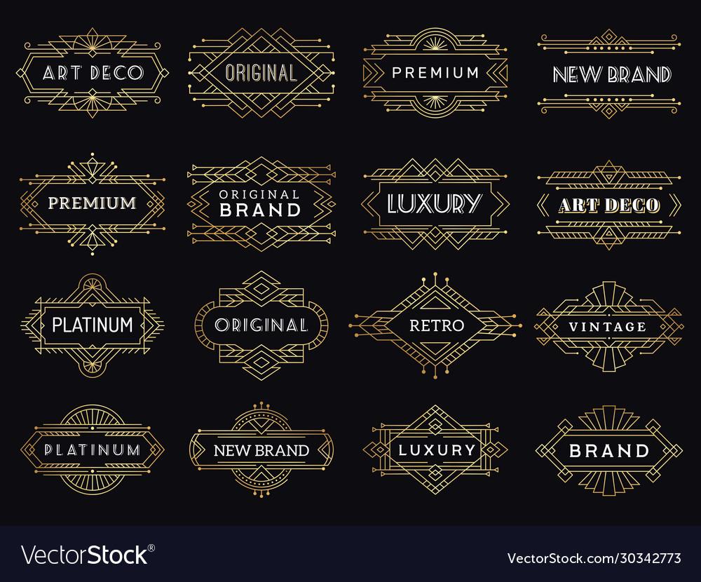 Vintage labels art deco luxury banners antique