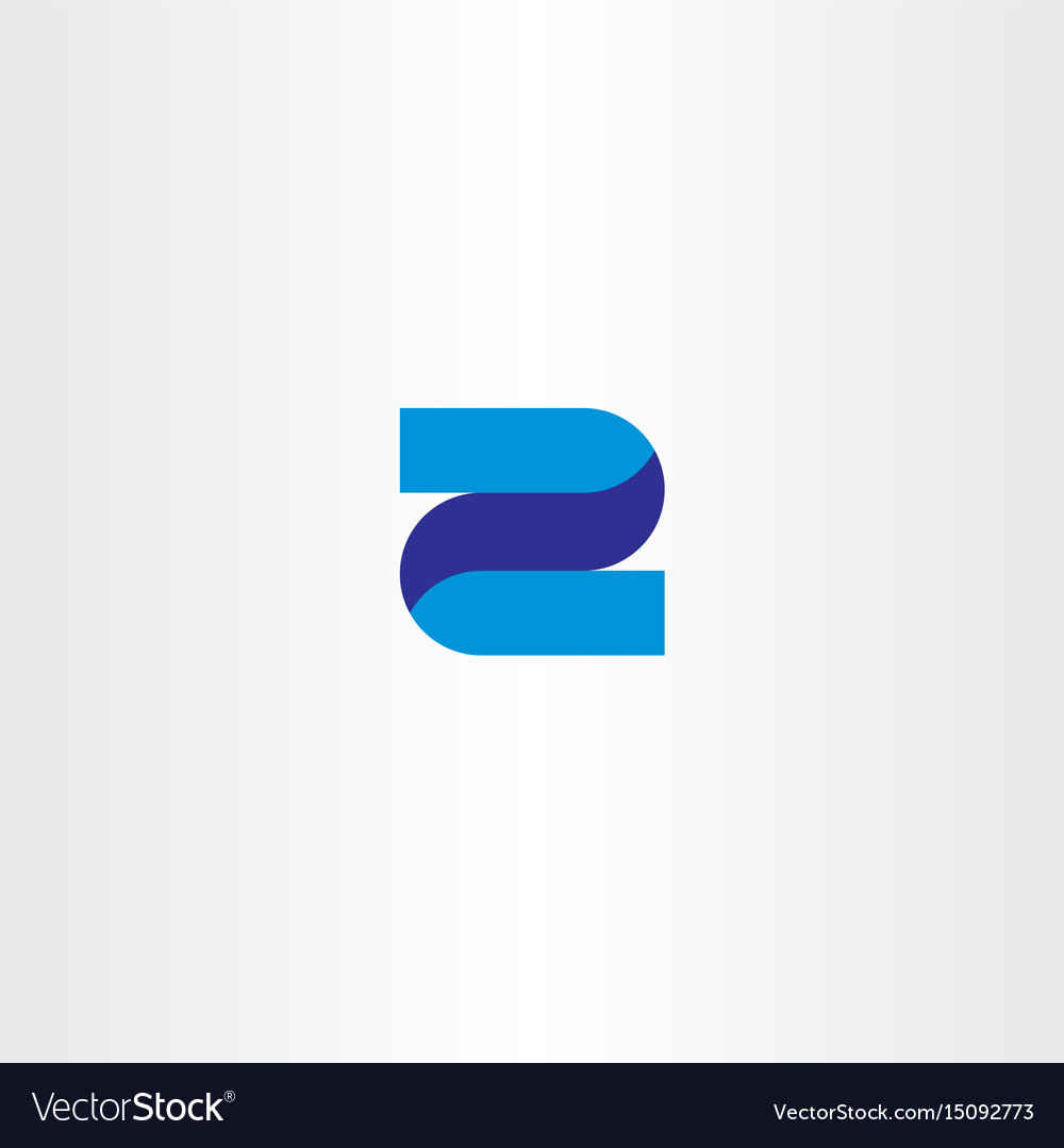 z 2 letter or number icon blue logo royalty free vector