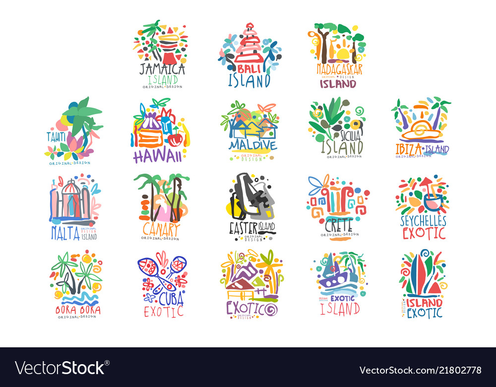 Exotic islands summer vacation colorful logo set