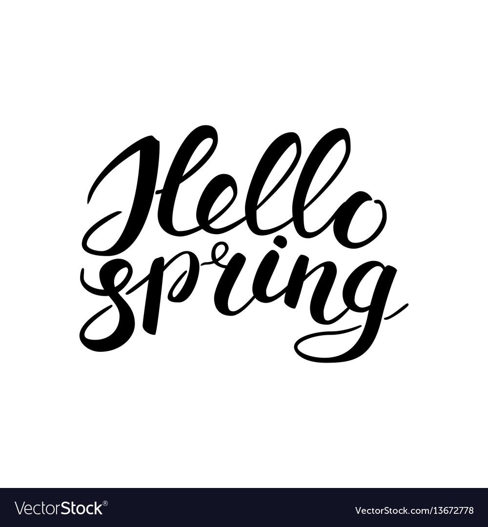 Phrase hello spring brush pen lettering isolated