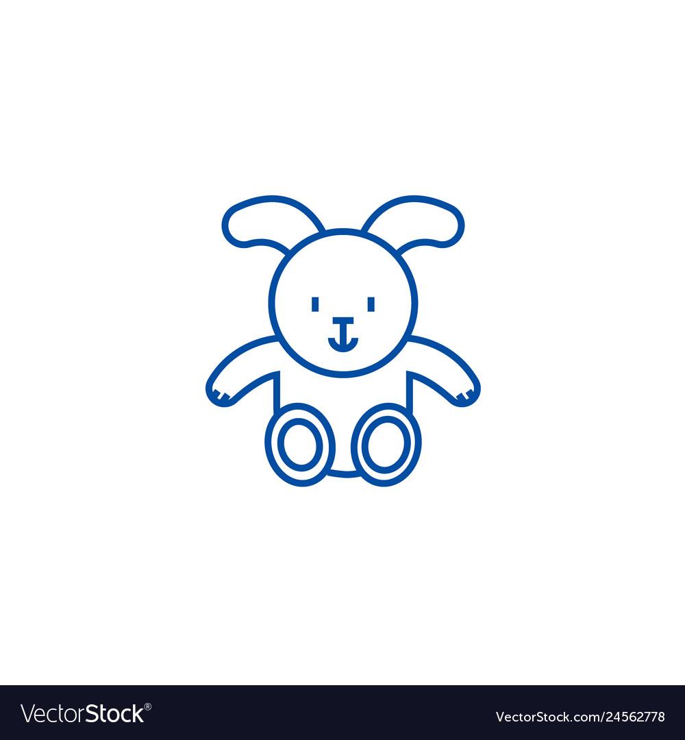 Rabbit baby line icon concept rabbit baby flat