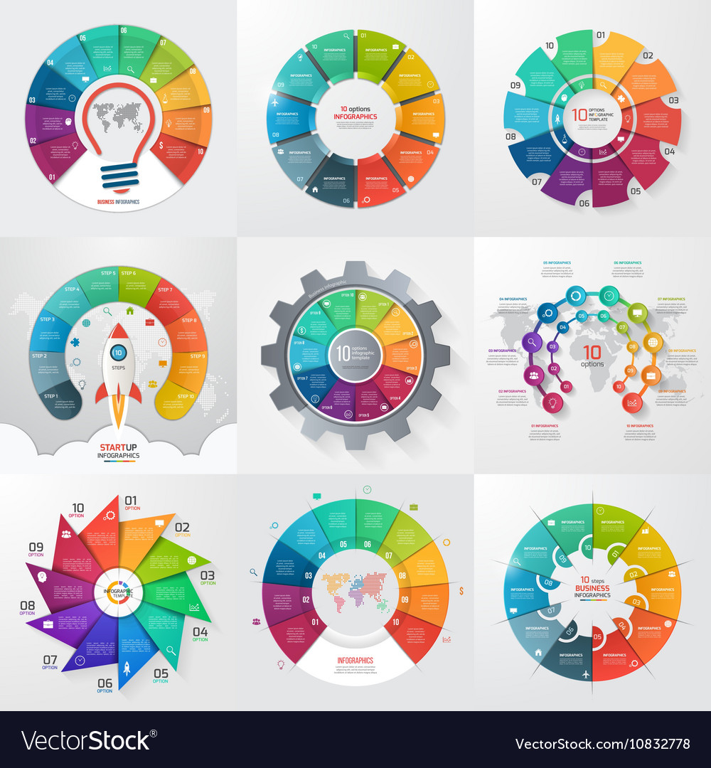 Set 9 circle infographic templates with 10