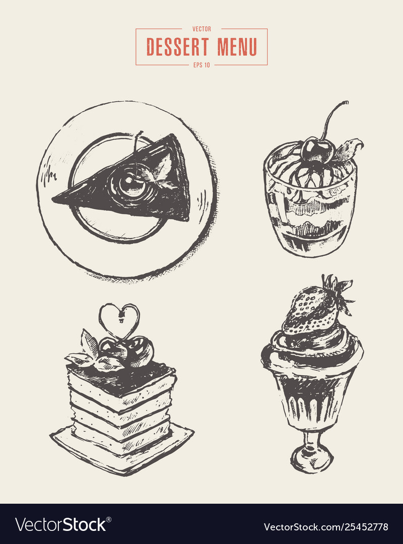 Set dessert design elements menu hand drawn