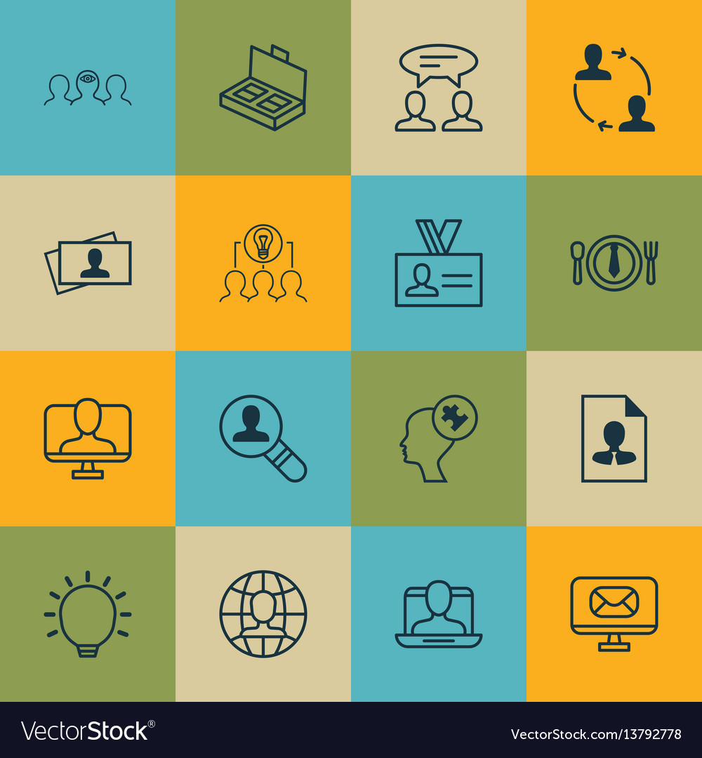 Set of 16 business management icons includes cv