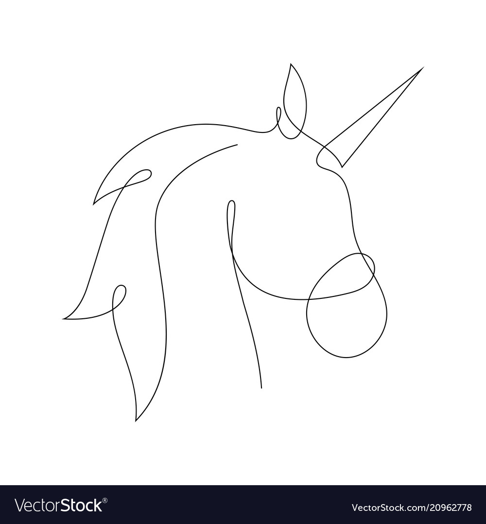 Unicorn in one line style