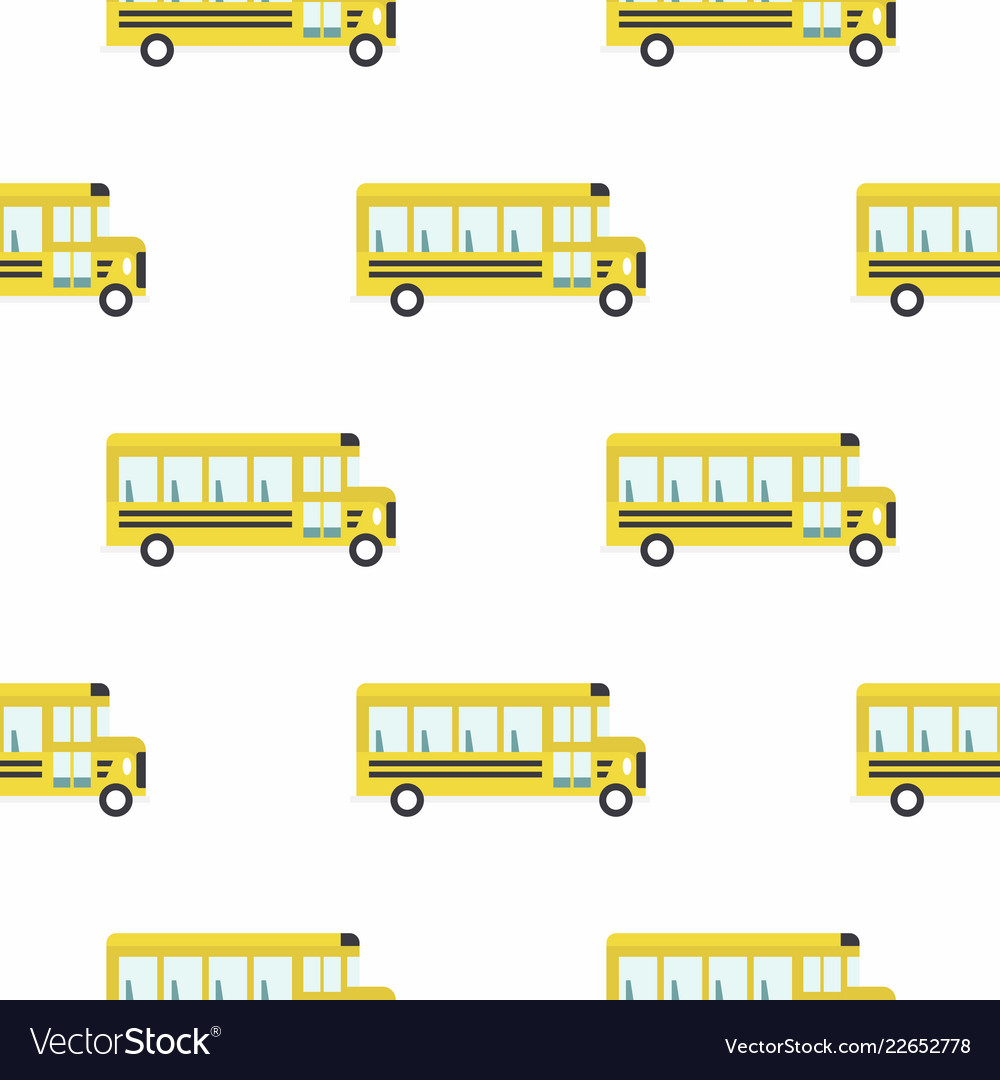 Yellow school bus seamless pattern
