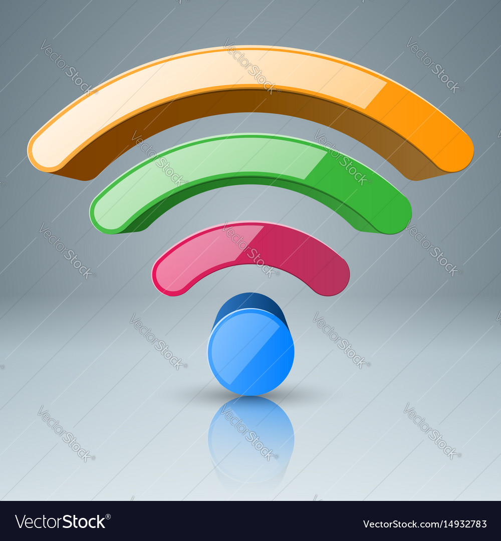 3d wi-fi icon foou color