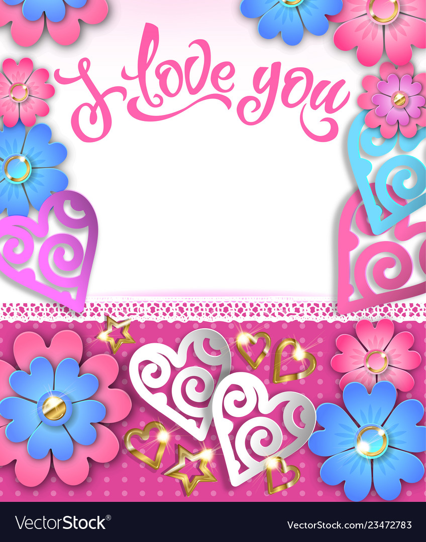 Banner i love you with paper hearts and flowers