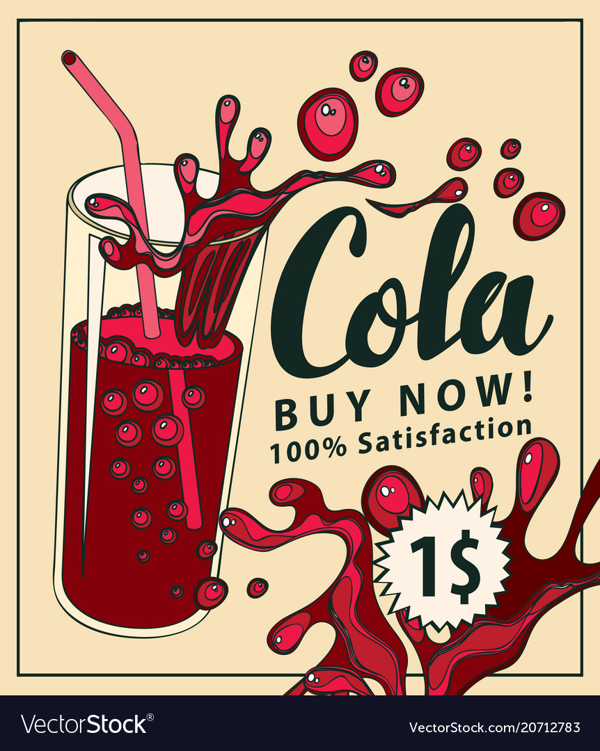 Banner with cola drink glass in retro style
