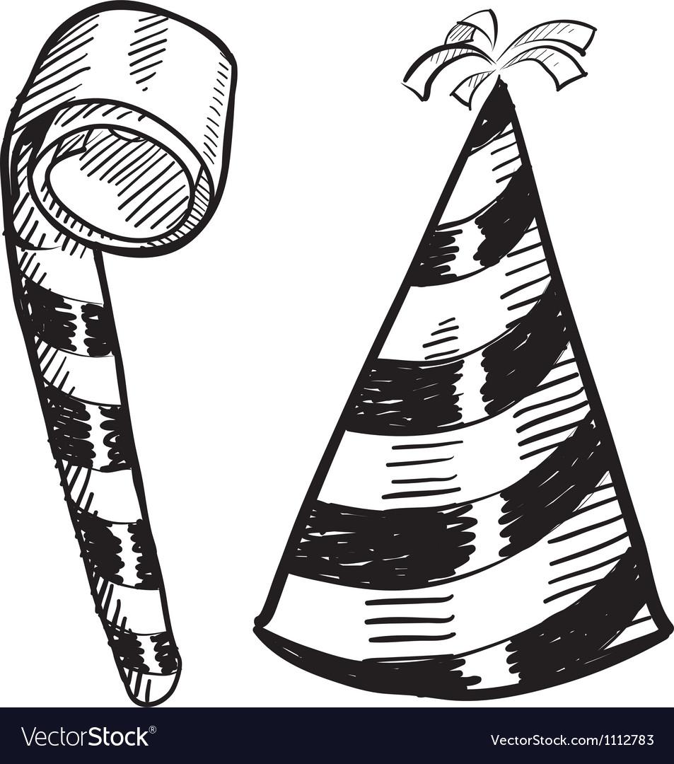 Doodle party hat blower