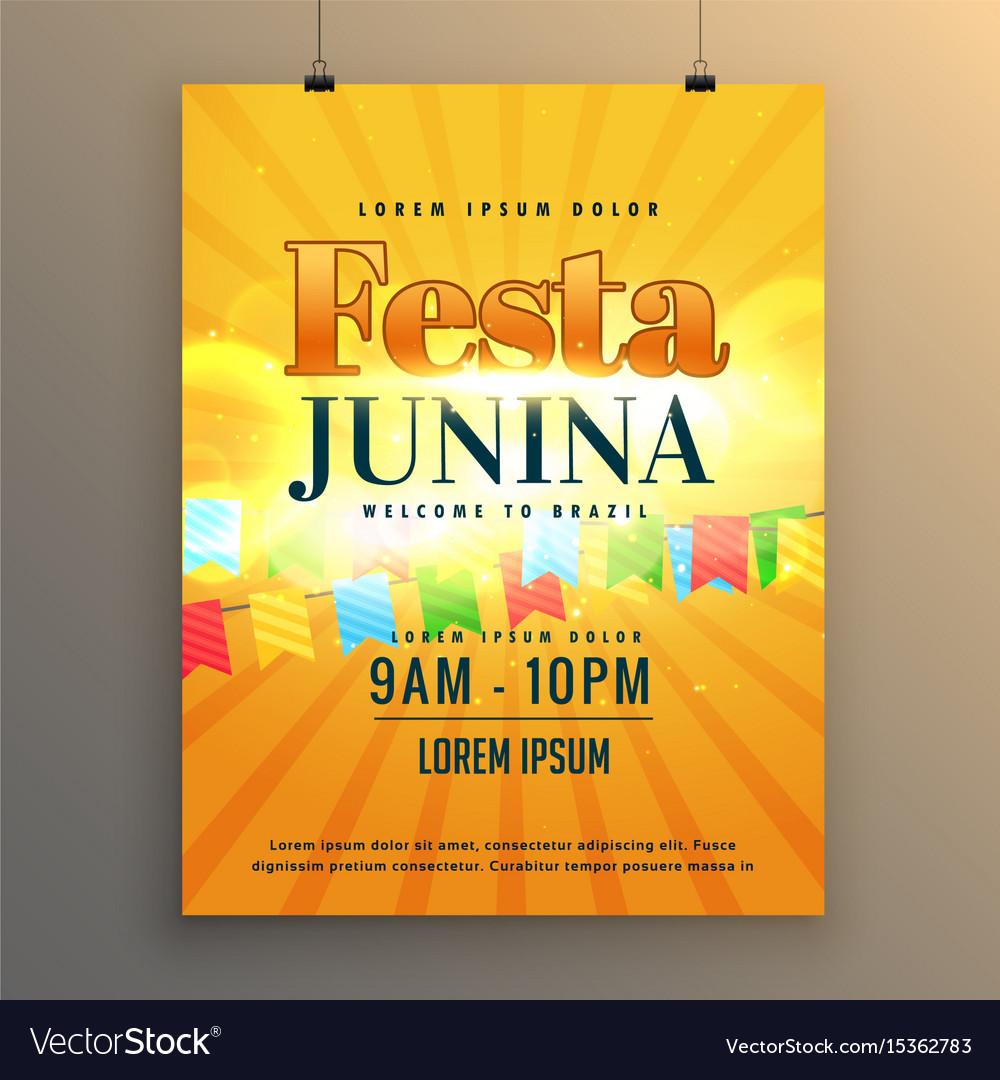 Festa junina carnival flyer poster design vector image