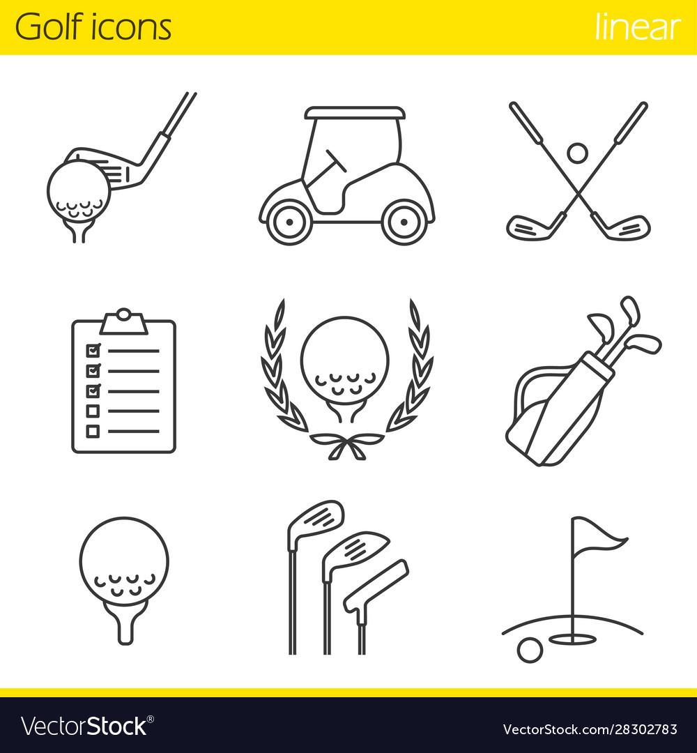 Golf equipment linear icons set