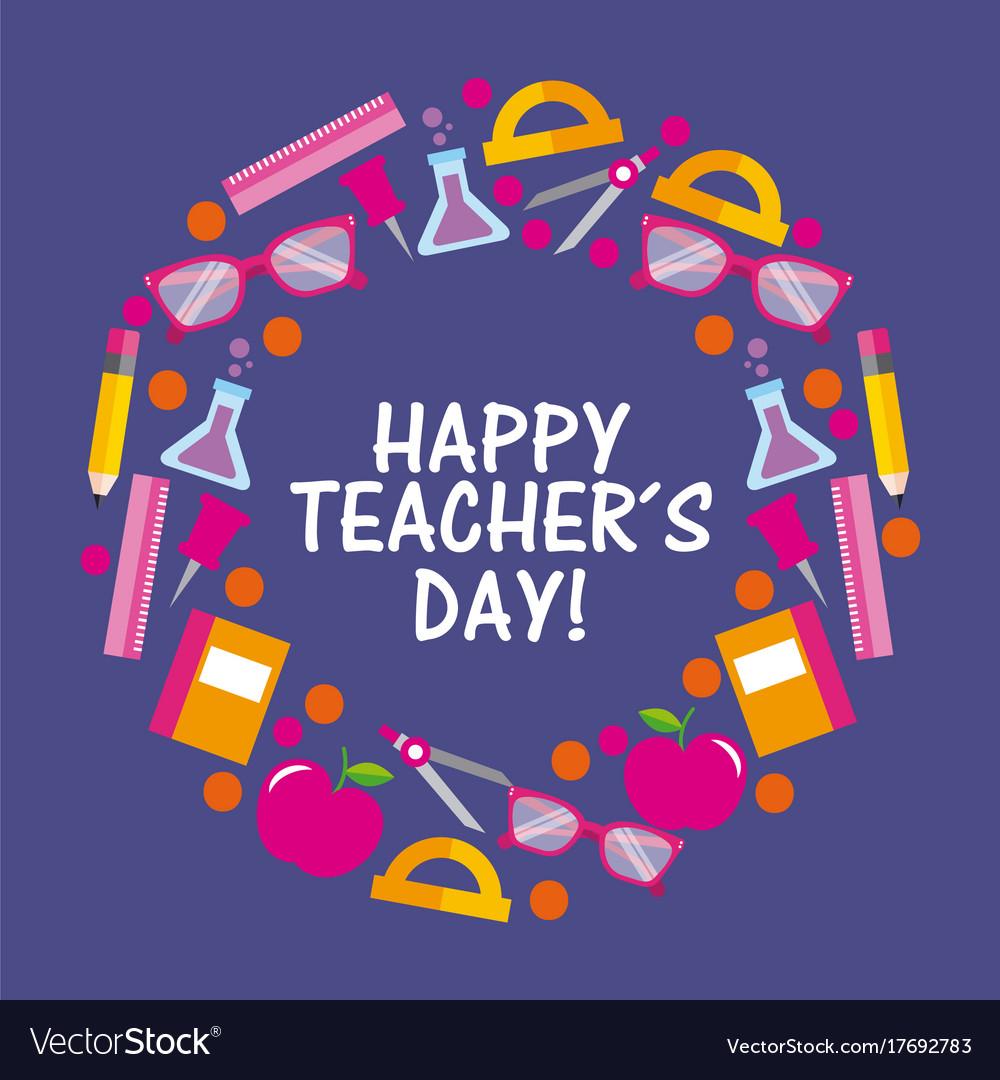 Happy teacher day card celebration elements Vector Image