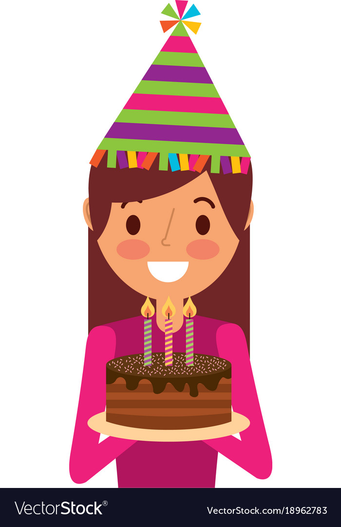 Happy Woman Holding Birthday Cake Wearing Party Vector Image