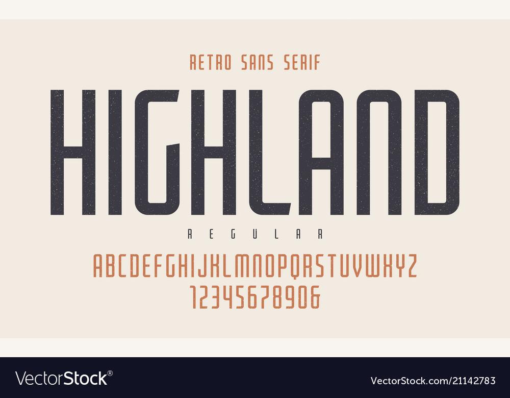 Highland condensed regular retro typeface