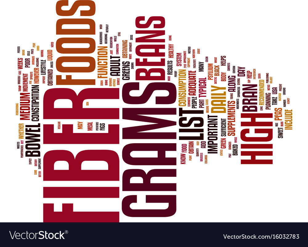 list of high fiber foods and fiber content text vector image