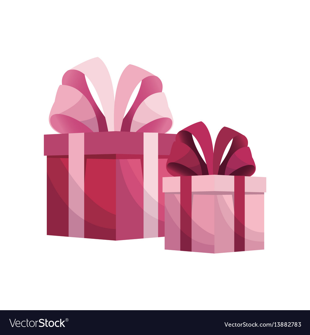 Pink gift boxes mothers day vector image
