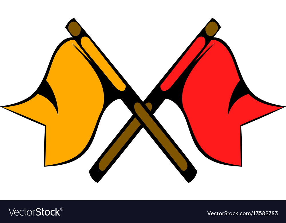 Red and yellow flag icon cartoon