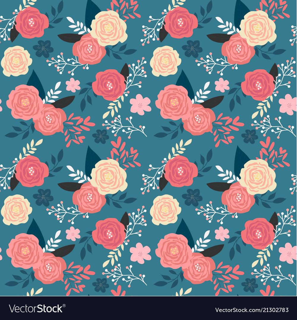 Vintage pink floral garden seamless pattern on