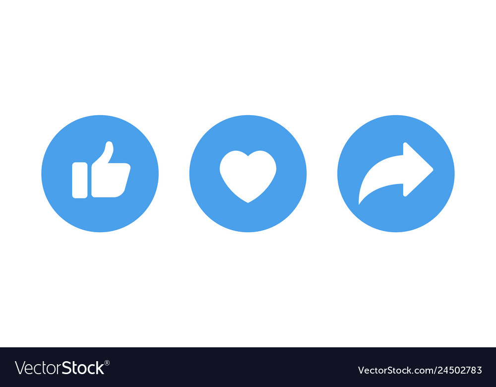 White like and heart icons in blue circle for