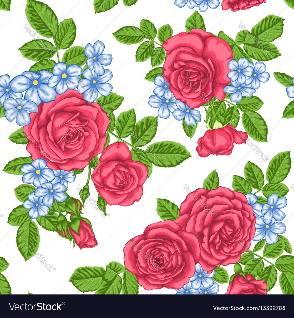 Beautiful vintage seamless pattern with bouquets