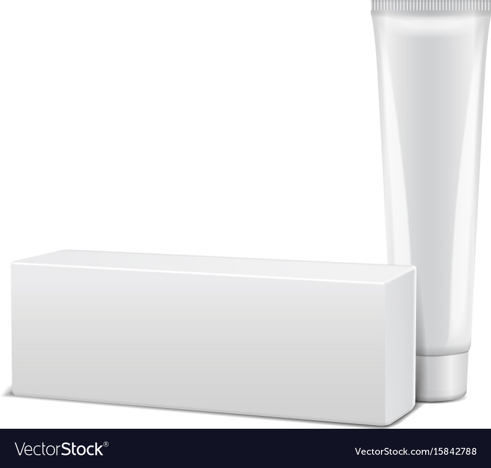 Blank plastic tube with white box for medicine or