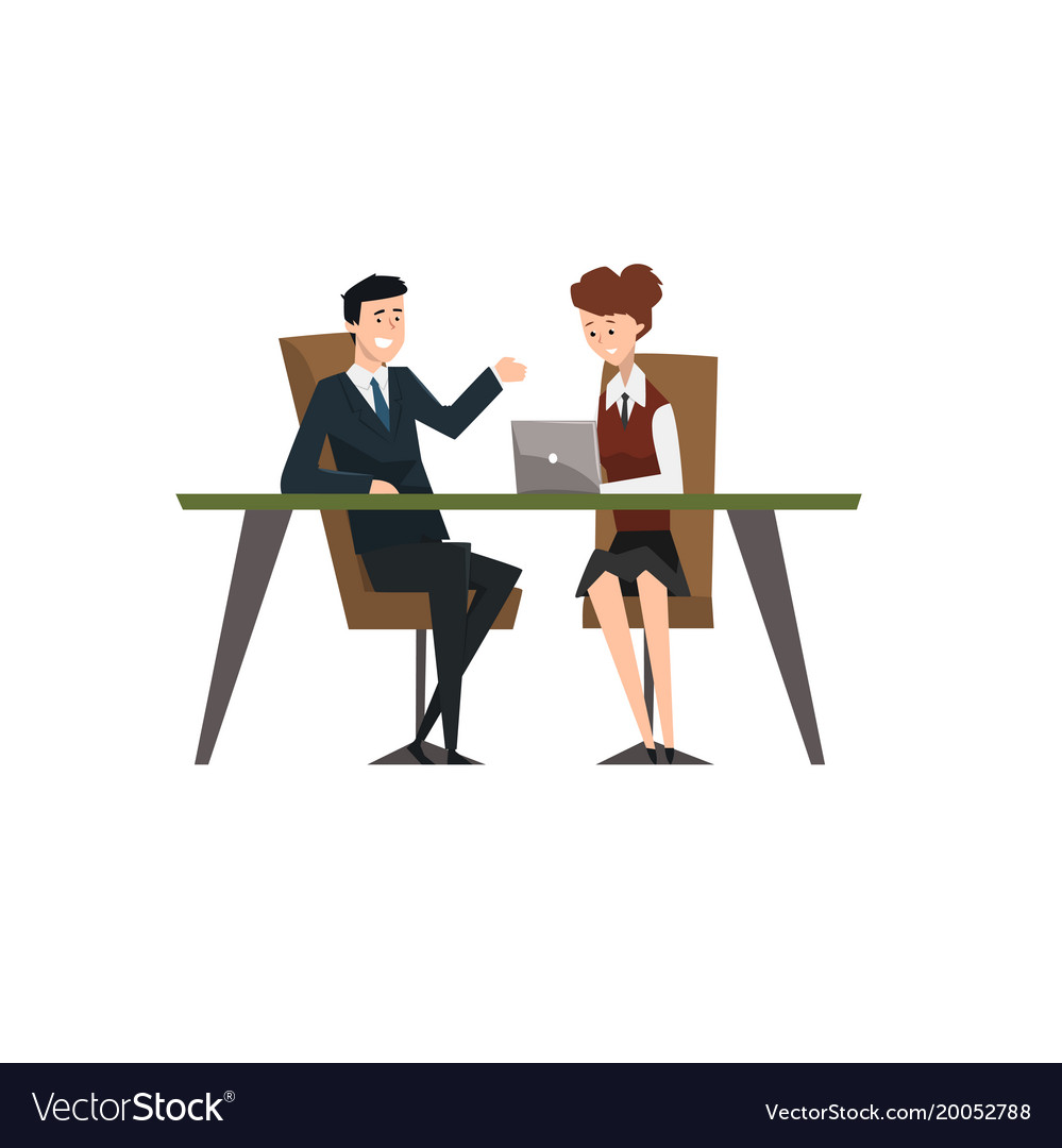 Business people smiling and talking at the laptop